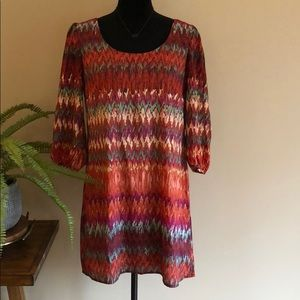 Multicolor Dress with Keyhole Back